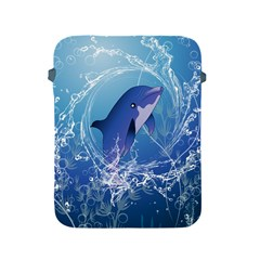 Cute Dolphin Jumping By A Circle Amde Of Water Apple iPad 2/3/4 Protective Soft Cases