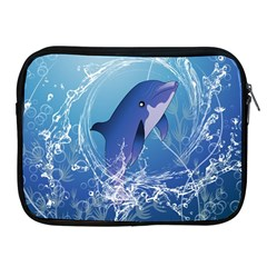 Cute Dolphin Jumping By A Circle Amde Of Water Apple iPad 2/3/4 Zipper Cases