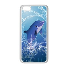Cute Dolphin Jumping By A Circle Amde Of Water Apple iPhone 5C Seamless Case (White)