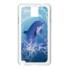 Cute Dolphin Jumping By A Circle Amde Of Water Samsung Galaxy Note 3 N9005 Case (White)