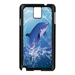 Cute Dolphin Jumping By A Circle Amde Of Water Samsung Galaxy Note 3 N9005 Case (Black)