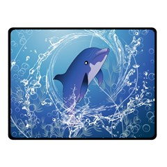 Cute Dolphin Jumping By A Circle Amde Of Water Double Sided Fleece Blanket (Small)