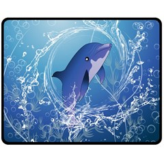 Cute Dolphin Jumping By A Circle Amde Of Water Double Sided Fleece Blanket (Medium)