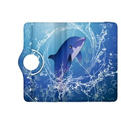 Cute Dolphin Jumping By A Circle Amde Of Water Kindle Fire HDX 8.9  Flip 360 Case