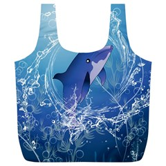 Cute Dolphin Jumping By A Circle Amde Of Water Full Print Recycle Bags (L)
