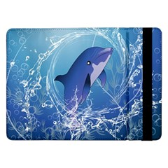 Cute Dolphin Jumping By A Circle Amde Of Water Samsung Galaxy Tab Pro 12.2  Flip Case