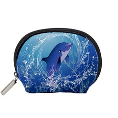 Cute Dolphin Jumping By A Circle Amde Of Water Accessory Pouches (Small)