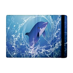 Cute Dolphin Jumping By A Circle Amde Of Water iPad Mini 2 Flip Cases