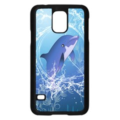 Cute Dolphin Jumping By A Circle Amde Of Water Samsung Galaxy S5 Case (Black)