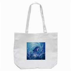 Cute Dolphin Jumping By A Circle Amde Of Water Tote Bag (white)