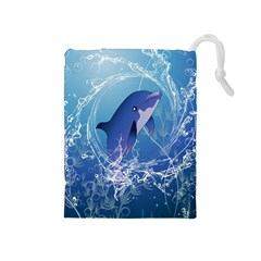 Cute Dolphin Jumping By A Circle Amde Of Water Drawstring Pouches (Medium)