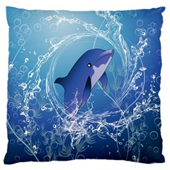 Cute Dolphin Jumping By A Circle Amde Of Water Large Flano Cushion Cases (One Side)