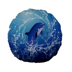 Cute Dolphin Jumping By A Circle Amde Of Water Standard 15  Premium Flano Round Cushions