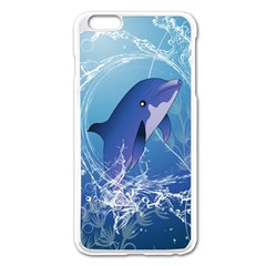 Cute Dolphin Jumping By A Circle Amde Of Water Apple iPhone 6 Plus/6S Plus Enamel White Case