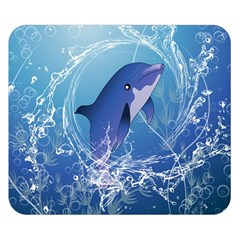 Cute Dolphin Jumping By A Circle Amde Of Water Double Sided Flano Blanket (Small)