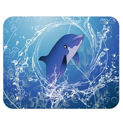 Cute Dolphin Jumping By A Circle Amde Of Water Double Sided Flano Blanket (Medium)