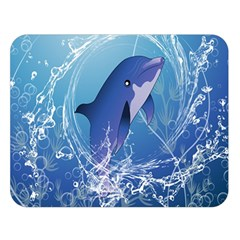 Cute Dolphin Jumping By A Circle Amde Of Water Double Sided Flano Blanket (Large)