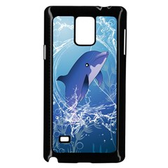 Cute Dolphin Jumping By A Circle Amde Of Water Samsung Galaxy Note 4 Case (Black)