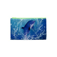 Cute Dolphin Jumping By A Circle Amde Of Water Cosmetic Bag (xs)