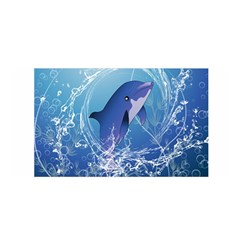 Cute Dolphin Jumping By A Circle Amde Of Water Satin Wrap