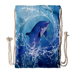 Cute Dolphin Jumping By A Circle Amde Of Water Drawstring Bag (Large)