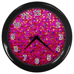 Polka Dot Sparkley Jewels 1 Wall Clocks (black)