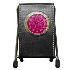 Polka Dot Sparkley Jewels 1 Pen Holder Desk Clocks