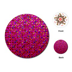 Polka Dot Sparkley Jewels 1 Playing Cards (Round)