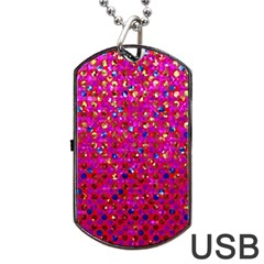 Polka Dot Sparkley Jewels 1 Dog Tag USB Flash (One Side)