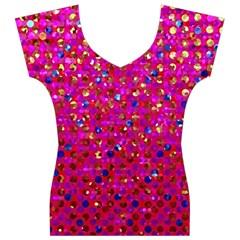 Polka Dot Sparkley Jewels 1 Women s V-Neck Cap Sleeve Top