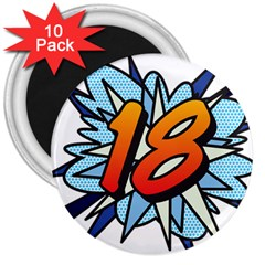 Comic Book 18 Blue 3  Magnets (10 pack)