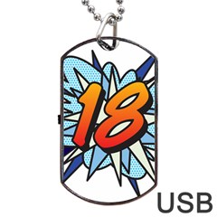 Comic Book 18 Blue Dog Tag USB Flash (One Side)