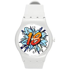 Comic Book 18 Blue Round Plastic Sport Watch (M)