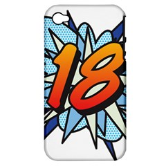 Comic Book 18 Blue Apple iPhone 4/4S Hardshell Case (PC+Silicone)