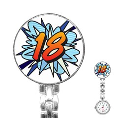 Comic Book 18 Blue Stainless Steel Nurses Watches