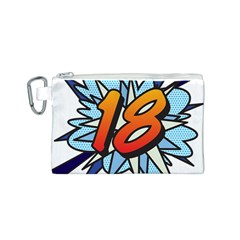 Comic Book 18 Blue Canvas Cosmetic Bag (S)