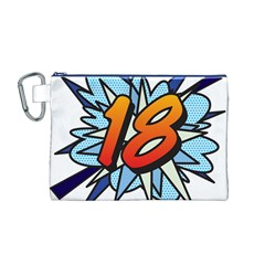 Comic Book 18 Blue Canvas Cosmetic Bag (M)