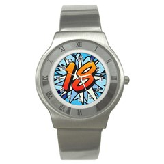 Comic Book 18 Blue Stainless Steel Watches