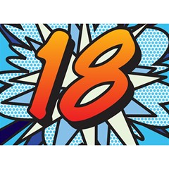 Comic Book 18 Blue Birthday Cake 3D Greeting Card (7x5)