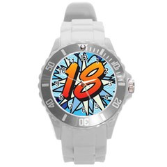Comic Book 18 Blue Round Plastic Sport Watch (L)