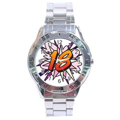 Comic Book 18 Pink Stainless Steel Men s Watch