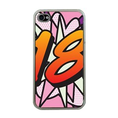 Comic Book 18 Pink Apple iPhone 4 Case (Clear)