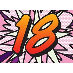 Comic Book 18 Pink Birthday Cake 3d Greeting Card (7x5)