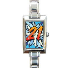 Comic Book 21 Blue Rectangle Italian Charm Watches