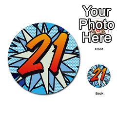 Comic Book 21 Blue Multi-purpose Cards (Round)