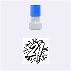 Comic Book 21 Blue Rubber Round Stamps (Small)
