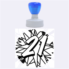 Comic Book 21 Blue Rubber Round Stamps (Large)