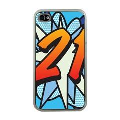 Comic Book 21 Blue Apple iPhone 4 Case (Clear)