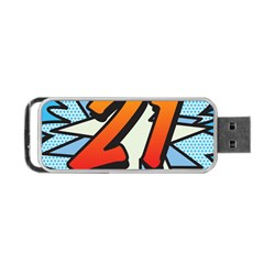 Comic Book 21 Blue Portable USB Flash (One Side)