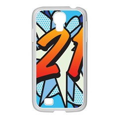 Comic Book 21 Blue Samsung GALAXY S4 I9500/ I9505 Case (White)